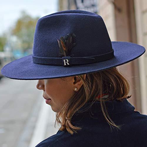Amazon.com: RACEU ATELIER Navy Blue Salter Hat - Wide Brim Fedora Hat - 100% Wool Felt - Fedoras & Trilby Hats - Water Resistant - Unisex: Handmade