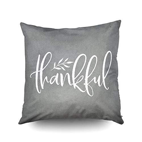 KIOAO Christmas Pillowcase Standard 16X16Inches Square for Cushion Home Decorative, Fall Autumn Thankful Rustic Neutral Gray White Grey Elegant Pillow Covers Printed with Both Sides of - Wreath Gray