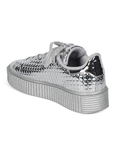 Stud Women Sneaker Metallic Lace Pyramid by Flatform Creeper Platform Alrisco Qupid Studded Sneaker Embossed Up Silver Collection Sneaker XwTz7d