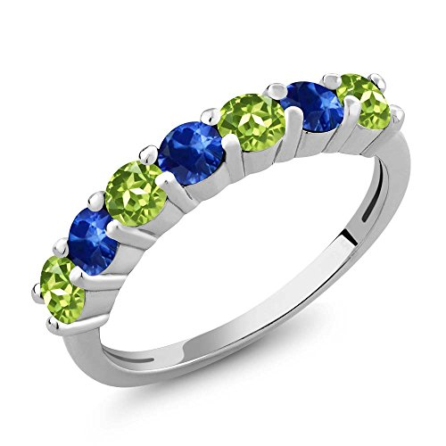 Green Sapphire Natural (1.44 Ct Round Green Peridot Blue Sapphire 925 Sterling Silver Anniversary Ring (Size 8))