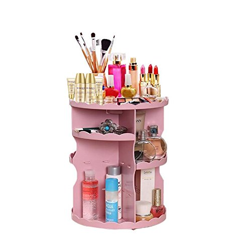 Pachira Macrocarpa 360-Degree Rotating Makeup Organizer Adjustable Cosmetic Storage Box Pink