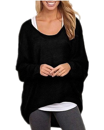 Women's Sexy Long Batwing Sleeve Loose Pullover Casual Top Blouse T-Shirt(L,Black)