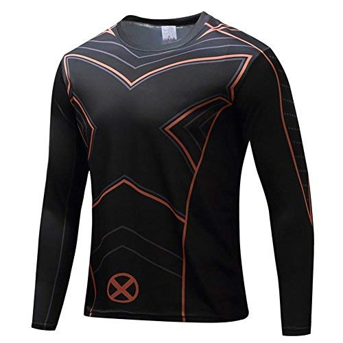 Super Hero Costume Compression T-Shirt Tight Cycling Clothes Sport T-Shirt (L, X Long Sleeve) -
