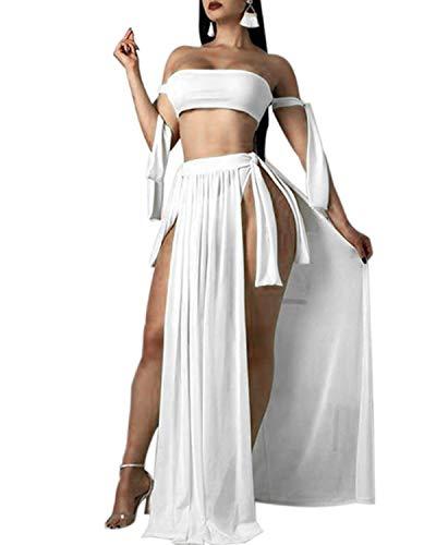3 Piece Skirt Outfit - BIUBIU Bikini Sets for Women with Cover Up, 3 Piece Outfit with Chiffon Cover Up Slit Skirt for Summer Beach Party White XL
