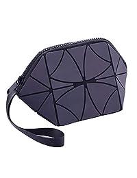 Salmue Bolsas de cosméticos Bolsa de cosméticos y artículos de tocador con Rayas geométricas Brillantes Bolsa de Viaje organizadora de Trenes de Maquillaje portátil Plegable