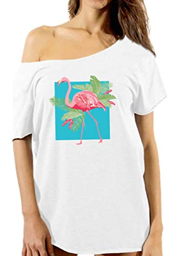 Vizor Tropical Pink Flamingo Off The Shoulder Shirt for Women Flamingo Lovers White 2XL