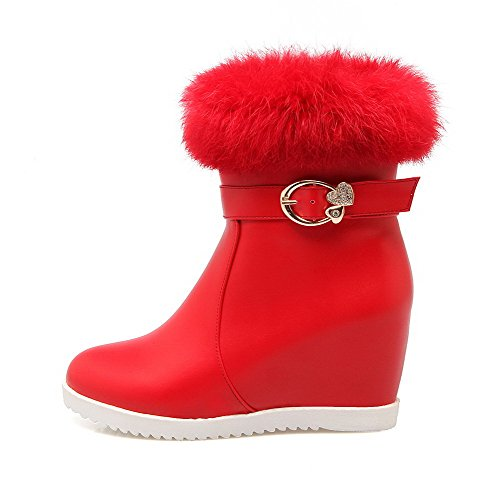 Solid Closed Material High Round Zipper WeiPoot Soft Heels Boots Toe Red Women's qApf1wxUwO