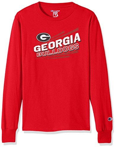 Champion NCAA Georgia Bulldogs Youth Boys Long Sleeve Jersey Tee, Large, Scarlet