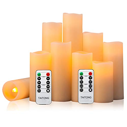 "Flameless Candles Battery Operated Candles 4"" 5"" 6"" 7"" 8"" 9"" Set of 9 Ivory Real Wax Pillar LED Candles with 10-Key Remote and Cycling 24 Hours Timer (Ivory, 9 PACK)"