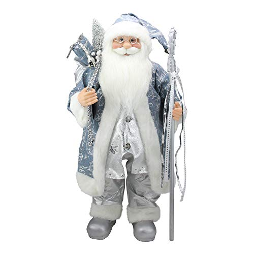 Northlight Ice Palace Standing Santa Claus in Blue/Silver Holding A Staff and Bag Christmas Figure, 25