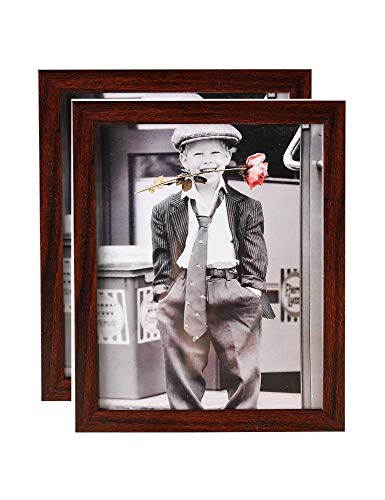MATFORCA 8x10 Picture Frame Collage 2Pack with High Definition Glass for Table Top Display and Wall mounting Photo Frame Brown(8X10, 2Pack Brown) ()