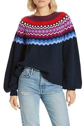 Joie Women's Karenya Wool Sweater, Midnight, Blue, Print, Medium