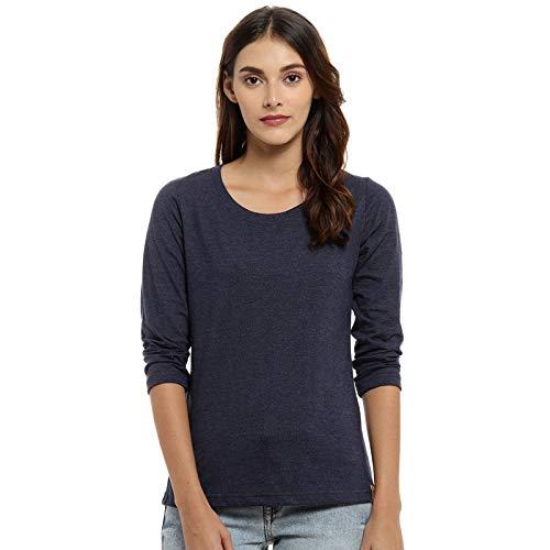Campus Sutra Solid Women Round Neck Denim T Shirt
