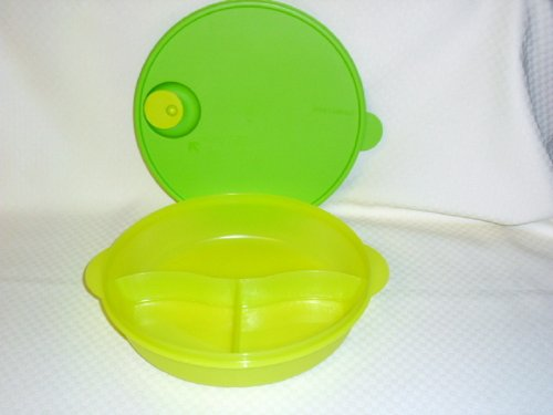 Tupperware Crystalwave Divided Dish for Microwave Green