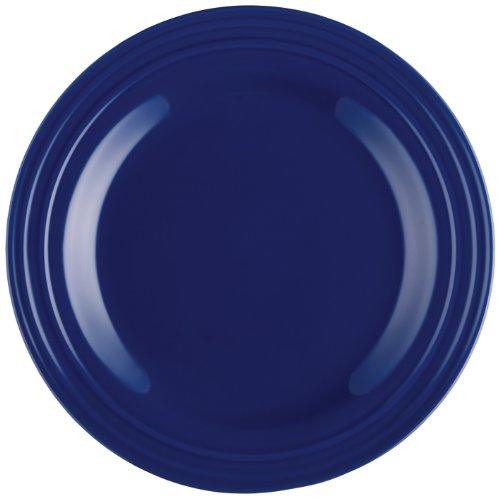 (Rachael Ray Dinnerware Double Ridge Dinner Plate Set, 4-Piece, Blue)