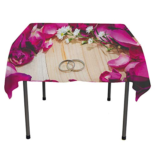 Flyerer Engagement Camping Tablecloth Two Rings on a Wooden Board Surrounded Pink Rose Petals Romantic Wedding Multicolor Waterproof Table Cloth Rectangle Tablecloth 60 by 84 inch