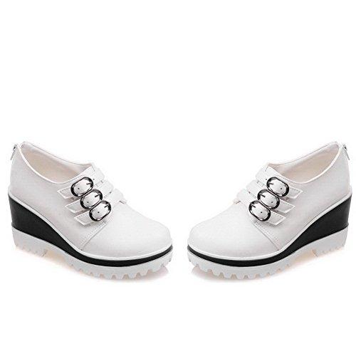 VogueZone009 Damen Reißverschluss Hoher Absatz PU Leder Rein Rund Zehe Pumps Schuhe Weiß