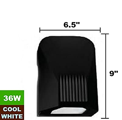 36W 120V 4000K Cool White Waterproof Black Outdoor LED Wall Pack Light Fixture, With Photo Cell