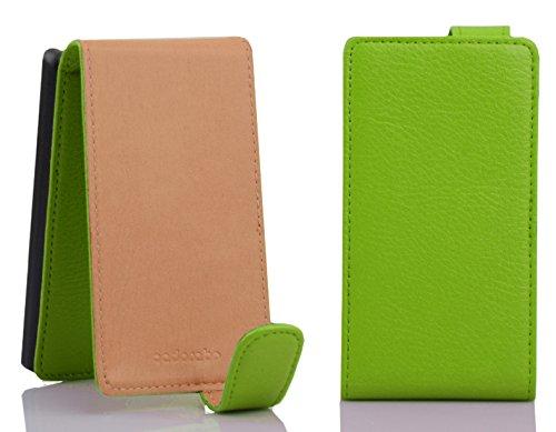 Cadorabo - Funda Flip Style para Sony Xperia E1 de Cuero Sintético - Etui Case Cover Carcasa Caja Protección en VERDE-DE-MANZANA VERDE-DE-MANZANA