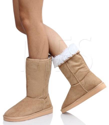 Soda Soong-S Comfort Boots, Camel Suede, 8 - Suede & Faux Fur Boot
