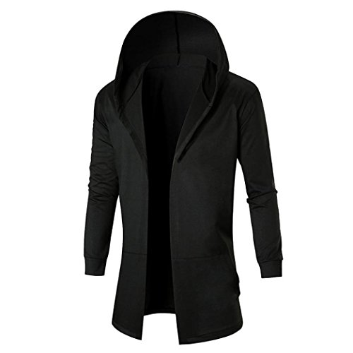 Men Overcoat Among Autumn Winter Hooded Coat Long Patchwork Jacket Solid Casual Cardigan Sweatshirt (L, Black)
