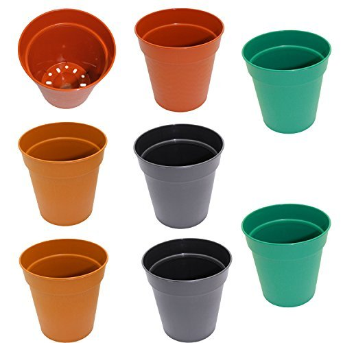 Set of 8 Round Plastic Planters in Assorted Colors