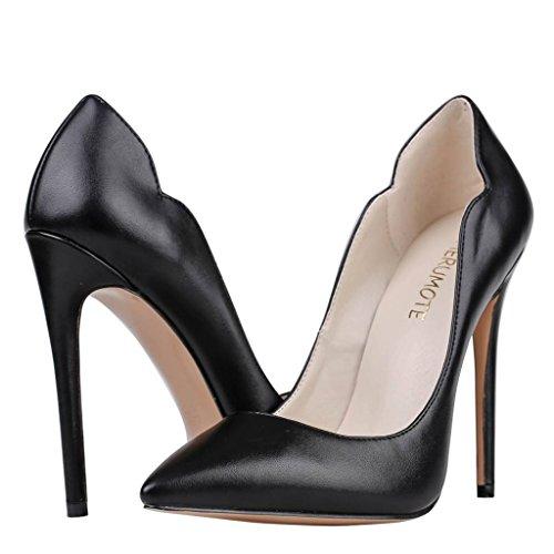 Heels High Matte Women's MERUMOTE Pointed 0535 Pump J Toe Dress Black Zwa7q1Ap