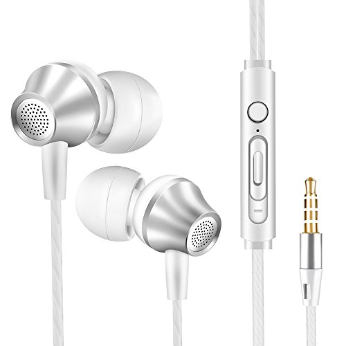 vastland Earbuds, Earphones, Headphones with Microphone - Wired Noise Isolating Ear Buds, Stereo Headset for Cell Phones Laptops and etc.(White & Silver)