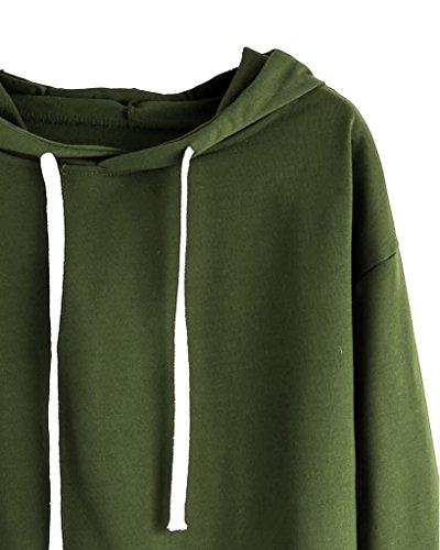 Con Top Manica Minetom Felpa Cappuccio Felpe Crop Pullover Maglie Sweatershirt Lunga Autunno Maglione Top Verde Moda A Donna RnnUHg1