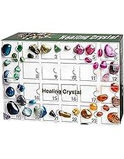 Adventskalender, 2021 kerst aftelkalender, 24 dagen minerale geschenkdoos met 24 stenen, mineralen en edelstenen, ertsspeelgoed cadeau voor kinderen