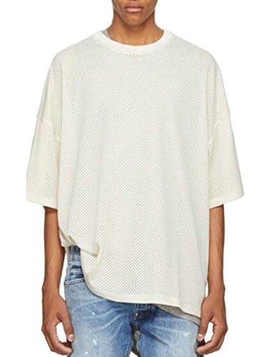 Jmwss QD Men Fashional Cowl Neck Short Sleeve Solid Sheer Mesh Patchwork Loose Fit T Shirt White M