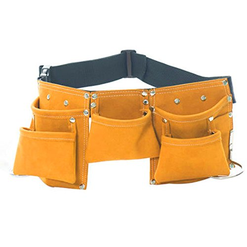 Ocamo Tool Pouch Pockets Leather Toolkit Electrician's Pouch with Adjustable Belt for Tools, Flashlight, Keys Yellow