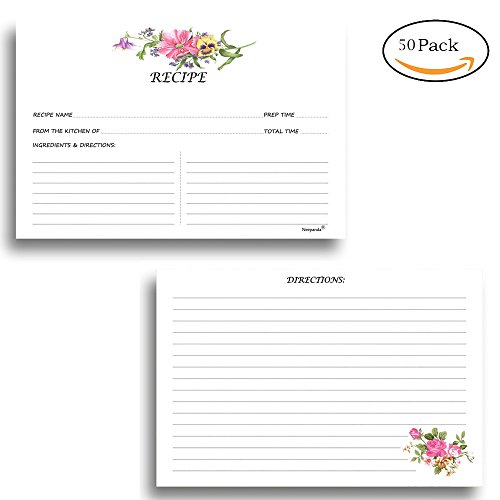 Neepanda Floral Recipe Cards, Double Sided Recipe Cards with Enough Space to Write Recipe Ideas for Wedding and Bridal Shower - 50 Pack, 3.5 X 6 Inches, Thick Cardstock, Floral Pattern by Neepanda