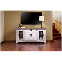 Crafters and Weavers Granville White 70 TV Stand / Sideboard / Console Table with Sliding Doors