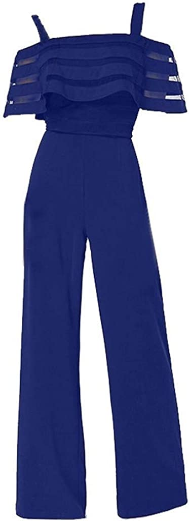 Combinaison Femme Ete,Femelles De Mode Taille Haute avec des /éPaules Froides Couleur Unie Jambe Large Salopette