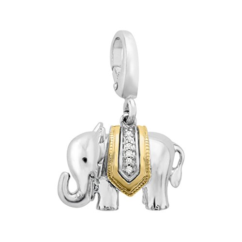 Elephant Charm with Diamonds in Sterling Silver & 14K Gold by Finecraft