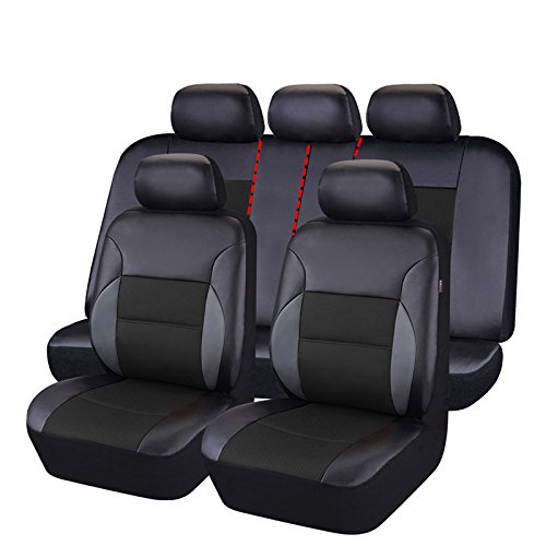 CAR PASS 11 Pieces Leather Universal Car Seat Covers Set - Black and Black