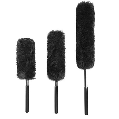 Clean World Industry Premium Wool Wheel Brushes 3-piece Kit, Metal free,100% LambsWool No Scratch Brushes for Rims,Auto Detailing with Rubber Grip