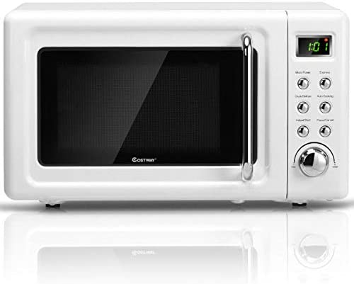 COSTWAY Retro Countertop Microwave Oven, 0.7Cu.ft, 700-Watt, Cold Rolled Steel Plate, 5 Micro Power, Delayed Start Function, with Glass Turntable Viewing Window, LED Display, Child Lock White