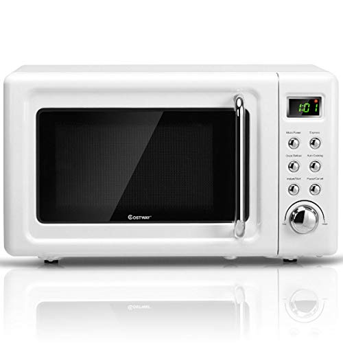 COSTWAY Retro Countertop Microwave Oven, 0.7Cu.ft, 700-Watt, Cold Rolled Steel Plate, 5 Micro Power, Delayed Start Function, with Glass Turntable & Viewing Window, LED Display, Child Lock (White)