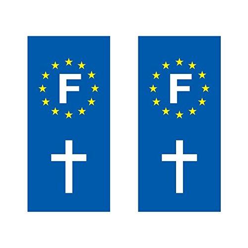 Lot de 2 sticker plaque immatriculation voiture logo régionaux Croix Chrétienne