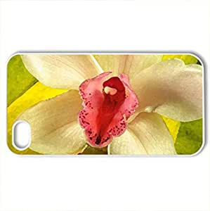 Beautiful orchid - Case Cover for iPhone 4 and 4s (Flowers Series, Watercolor style, White)