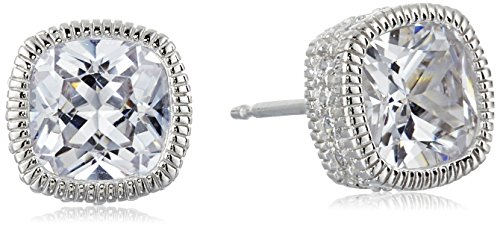 Rhodium Sterling Cushion Zirconia Earrings