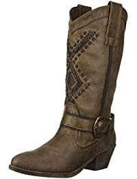 Snapper Womens Western Mid-Calf Low Heel Cowboy Riding Boot