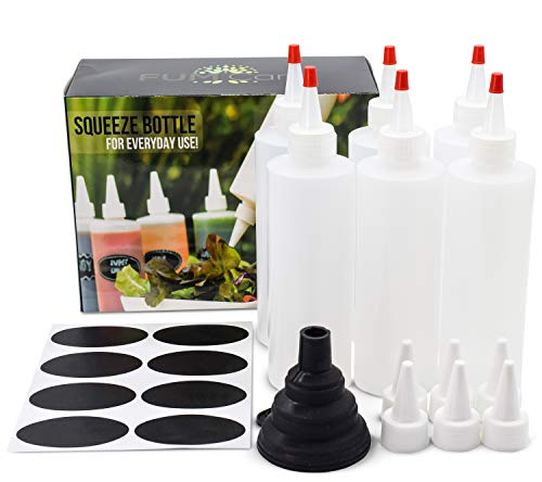 - Squeeze Bottle 8 Oz - Set of 6 - With Red Caps, Silicone Funnel, Chalk Labels, 6 Extra White Caps, E-book. Leakproof, BPA Free & Refillable Squirt Plastic Bottles For Condiments, Mustard, Ketchup