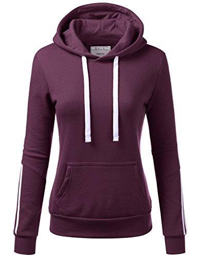 NINEXIS Womens Long Sleeve Arm Multiple Line Pullover Hoodie Sweatshirts Plum L (Pet Fashion Plum)