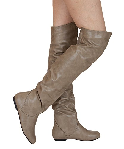 RF ROOM OF FASHION Trend-HI Over-The-Knee Slouchy Shaft Flat Low Heel Boots Taupe Pu