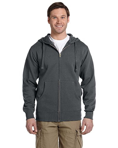- econscious Mens 9 Oz. Organic/Recycled Full-Zip Hood (EC5650)- Charcoal,X-Large