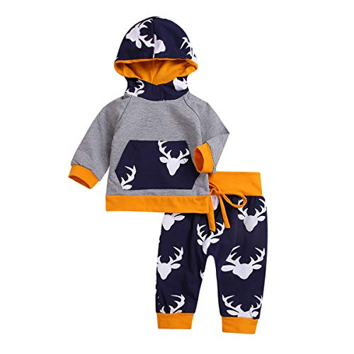 e146b0a2 Toddler Infant Baby Boy Deer Long Sleeve Hoodie Tops Sweatsuit Pants Outfit  Set Hoodie Tops +