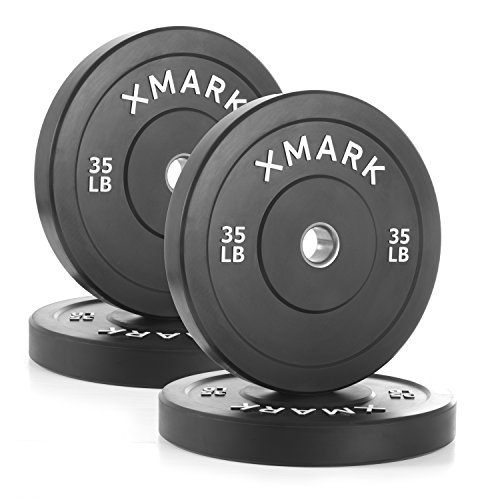 XMark Black Olympic Bumper Plates, Superb Quality, Heavy Duty Stainless Steel Inserts (4) 35 lb. - Total weight 140 lbs. - XM-3385-35-FOUR